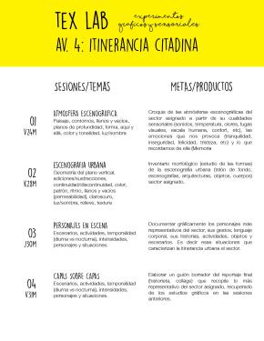 TEX LAB AVENIDA 4: ITINERANCIACITADINA